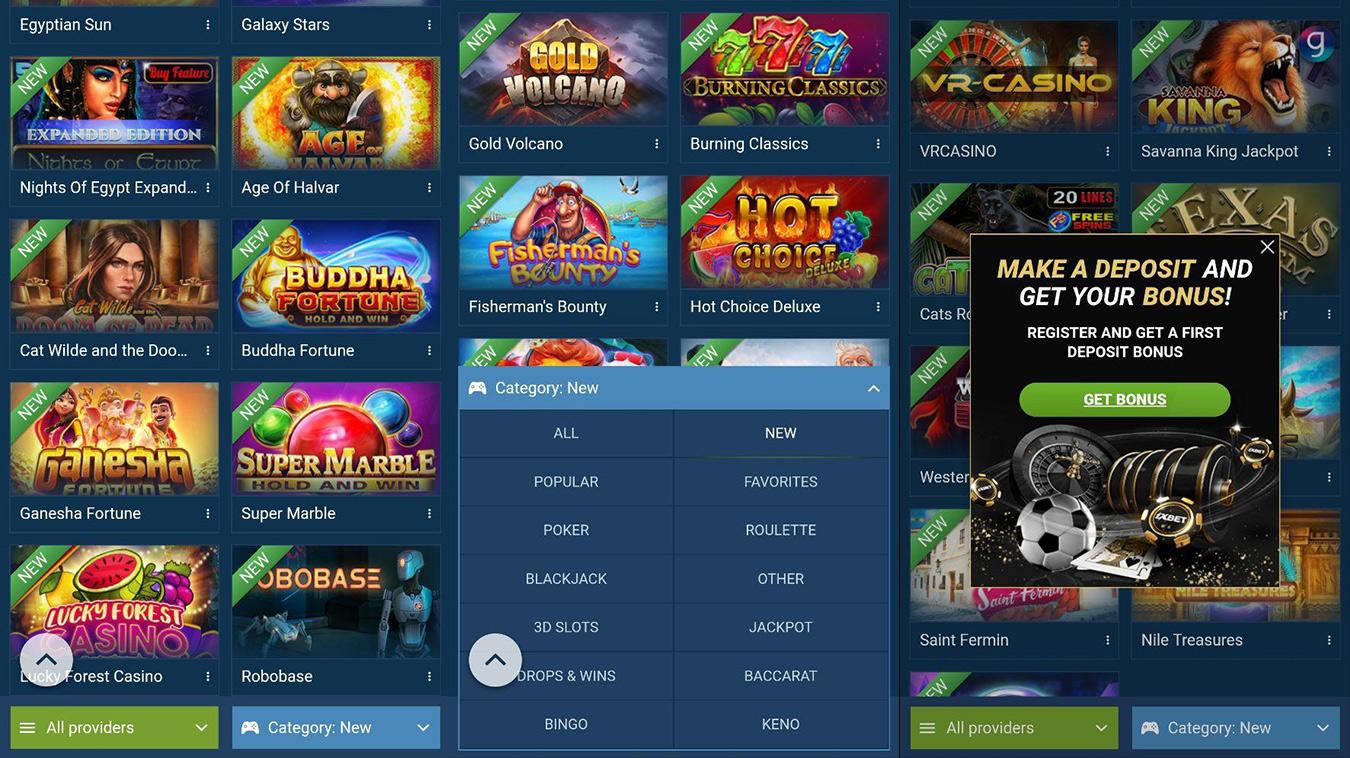 1xBet mobile casino games.