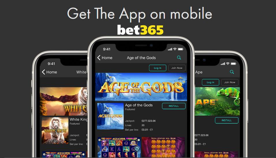 Bet365 Casino mobile app.